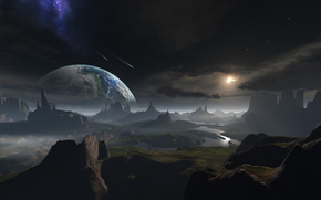 Art, planet, surface, space, Meteors, river, clouds