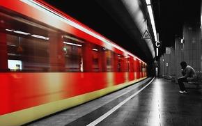 metro, B / W, train, thought, man