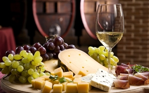 wine, White, goblet, grapes, cheese