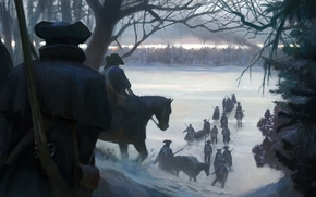 Soldiers, Winter, America, forest
