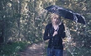 女孩, 伞, 雨, 情况