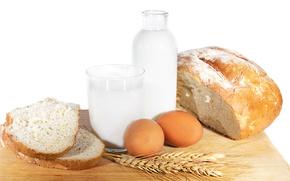 молоко, хлеб, яйца, пшеница, еда, простая еда, кувшин
