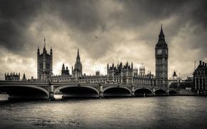 citt, Londra, Inghilterra, Thames, ponti, Big Ben