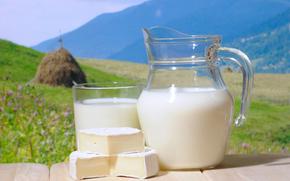 кувшин, стакан, молоко, сыр, стог, трава, природа, небо