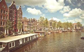 Амстердам, канал, лодки, солнце