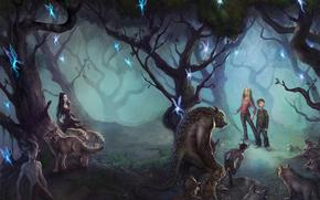 girl, boy, Dream world, Elves, Wolves