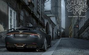 Астон Мартин, ЛБС, суперкар, вид сзади, тюнинг, улица, брусчатка, герб, надпись, Aston Martin
