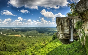 waterfall, rock, forest, greens, landscape, distance, panorama, horizon, sky, clouds