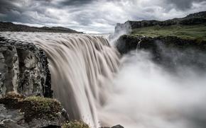fiume, ruscello, cascata, nuvole, nuvoloso