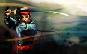 арт, девушка, азиатка, меч, катана, национальный наряд, размытость