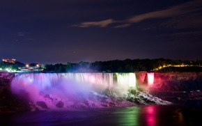 night, river, waterfall