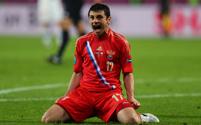 Alan Dzagoev, shout, Russian team, lawn, RFU, Russia-Czech Republic