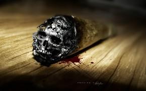 cigarette, skull, death, ash