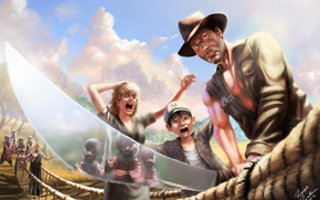 Indiana Jones and the Temple of Doom, Harrison Ford, sword, hat, girl, boy, muzhik