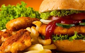 гамбургер, картофель фри