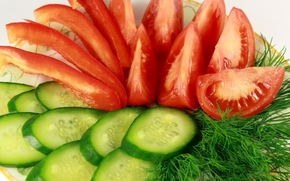 tomatoes, cucumbers, dill, vegetables, thread