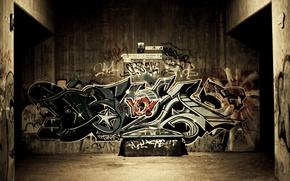Улица, Обоя, Граффити, Стена, Лавочка, Надписи