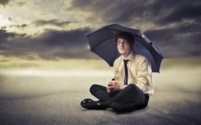 man, glasses, shirt, tie, umbrella, sand