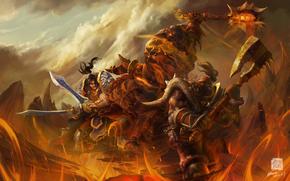 воины, схватка, огонь, скалы
