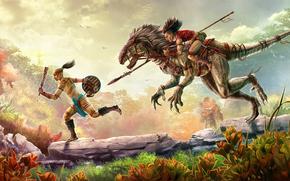 dinosauro, raptor, inseguimento, ciclista