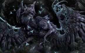 monstruo, garras, lucirnagas, alas