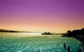 mar, puesta del sol, enviar, cielo