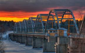 закат, река, мост, пейзаж