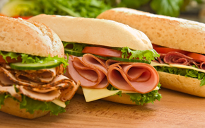 Sandwiches, Fast Food, roll, salmon, ham, vegetables, cheese, tomatoes, cucumbers