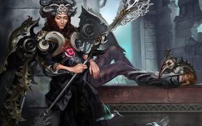 Арт, девушка, богиня, доспехи, посох, корона, птицы, колибри, крылья