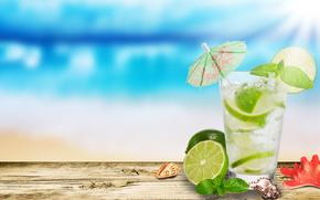 мохито, стакан, лайм, ракушки, морская звезда, зонтик