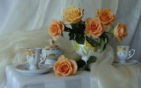 Rose, Flowers, Beautiful, tender, bouquet, buds, cup, kettle, table, tablecloth, silk, silk, still life