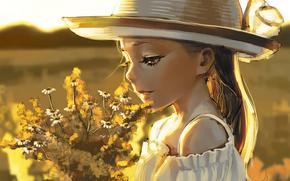 девушка, поле, цветы, букет, шляпа