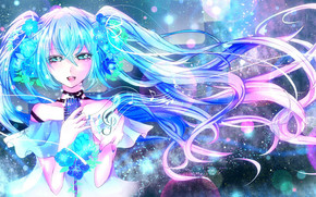 girl, blue hair, microphone, Flowers, abstraction, music, treble clef