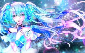ragazza, capelli blu, microfono, fiori, astrazione, musica, chiave di violino