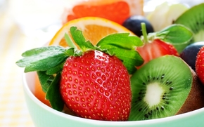 strawberry, kiwi, orange, fruit, Berries