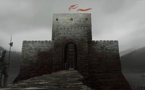 Art, castle, Warrior, warder, armor, halberd, lake, bridge, fortress, gate
