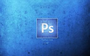 Photoshop, logo, blu, sfondo, bianco
