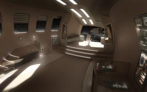 Art, ship, space, interior, cabin, chair, girl, future