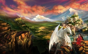 Art, Fantasy, landscape, dragon, Elf, elf, girl, city, rocks, Mountains, castle