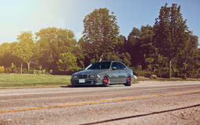 бмв, деревья, блик, BMW