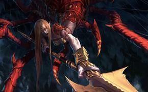 monstre, araigne, lance, armure, canines, yeux rouges, rage