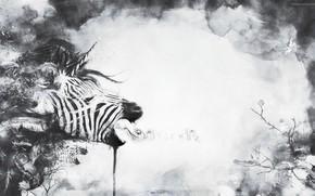 абстракция, зебра, единорог, растение