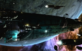 fantascienza, futuro, paesaggio futuristico, Invasione, navi, pianeta, Stella, Asteroids, spazio