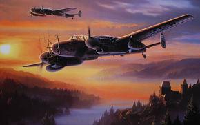 chasseur de nuit, radar, chteau, fort, Montagnes, brouillard