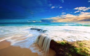 море, небо, облака, вода, поток, пляж, водопад, камни