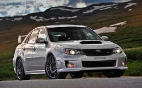 Subaru, Impreza, Zedan, front, seryy.doroga, Mountains, sky, subaru