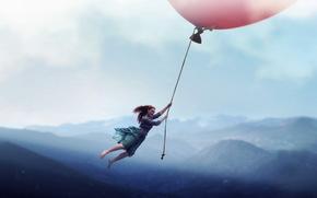 девушка, шар, полёт, ситуация