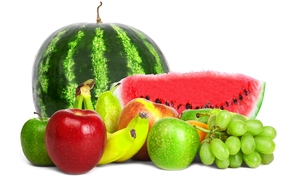 fruta, Bayas, sanda, manzanas, pltanos, uvas, pera, fondo blanco