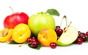 фрукты, персики, яблоки, черешня