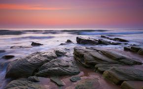性质, 海, 石头, 天空, 黄昏, 波浪